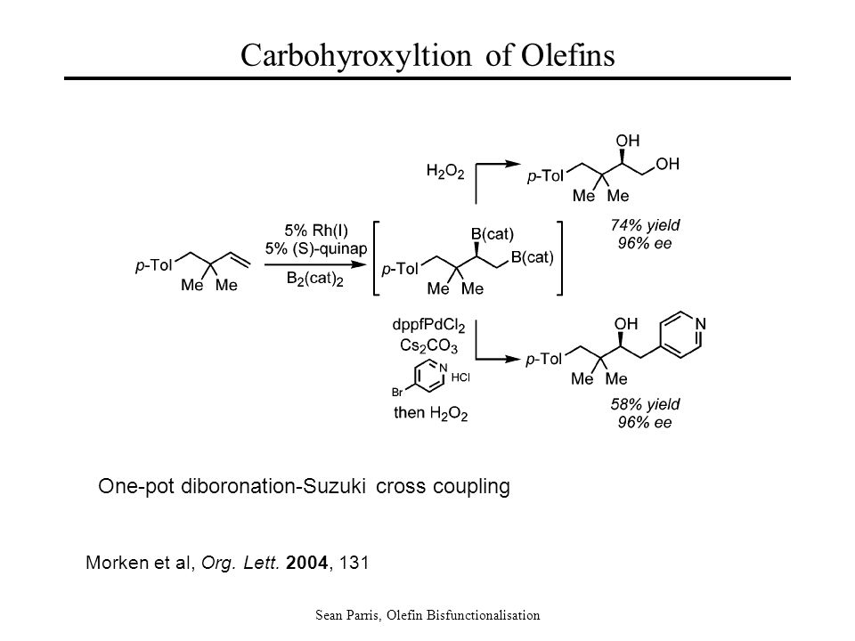Sean Parris, Olefin Bisfunctionalisation Carbohyroxyltion of Olefins Morken et al, Org.