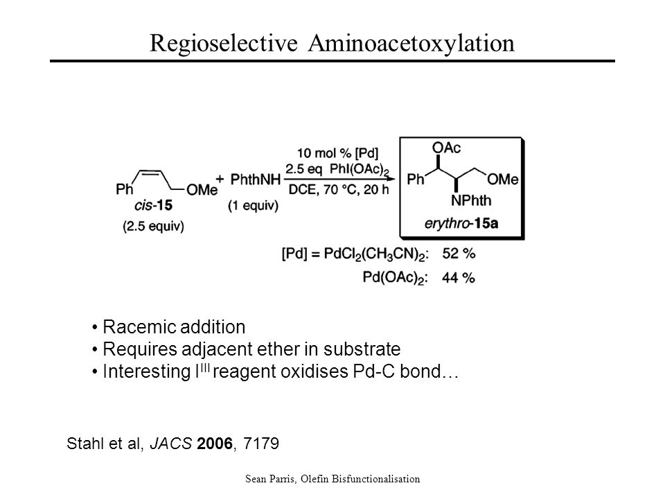 Sean Parris, Olefin Bisfunctionalisation Regioselective Aminoacetoxylation Stahl et al, JACS 2006, 7179 Racemic addition Requires adjacent ether in substrate Interesting I III reagent oxidises Pd-C bond…