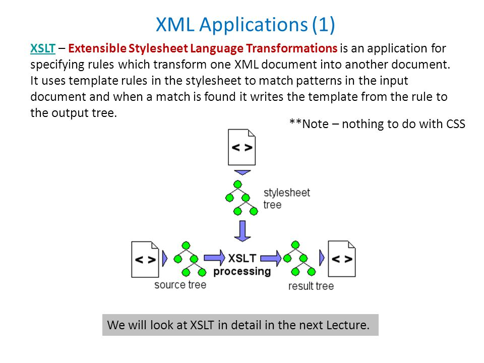 XML Applications (1) XSLTXSLT – Extensible Stylesheet Language Transformations is an application for specifying rules which transform one XML document into another document.