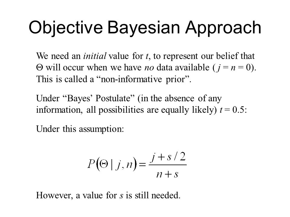 Objective Bayesian Approach We need an initial value for t, to represent our belief that  will occur when we have no data available ( j = n = 0).