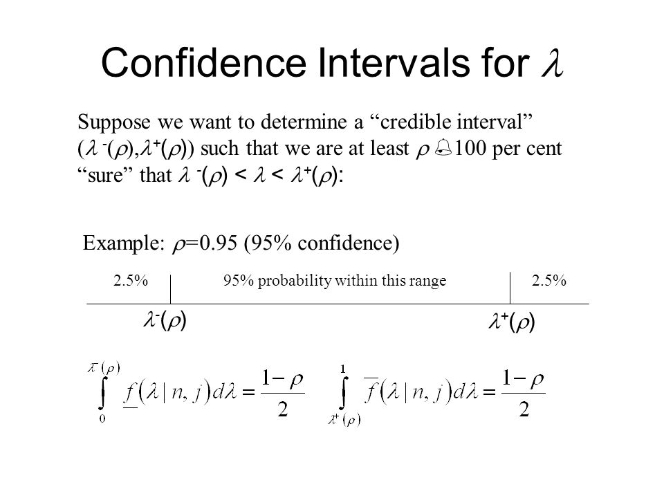 Confidence Intervals for Suppose we want to determine a credible interval ( - (  ), + (  ) ) such that we are at least   100 per cent sure that - (  ) < < + (  ): 95% probability within this range2.5% + (  ) - (  ) Example:  =0.95 (95% confidence)