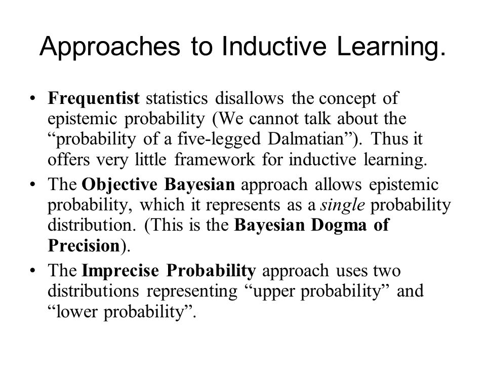 Approaches to Inductive Learning.