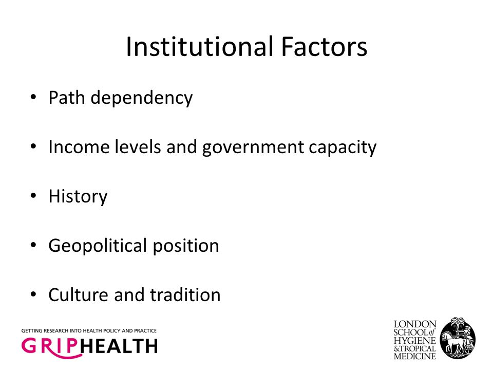 Institutional Factors Path dependency Income levels and government capacity History Geopolitical position Culture and tradition