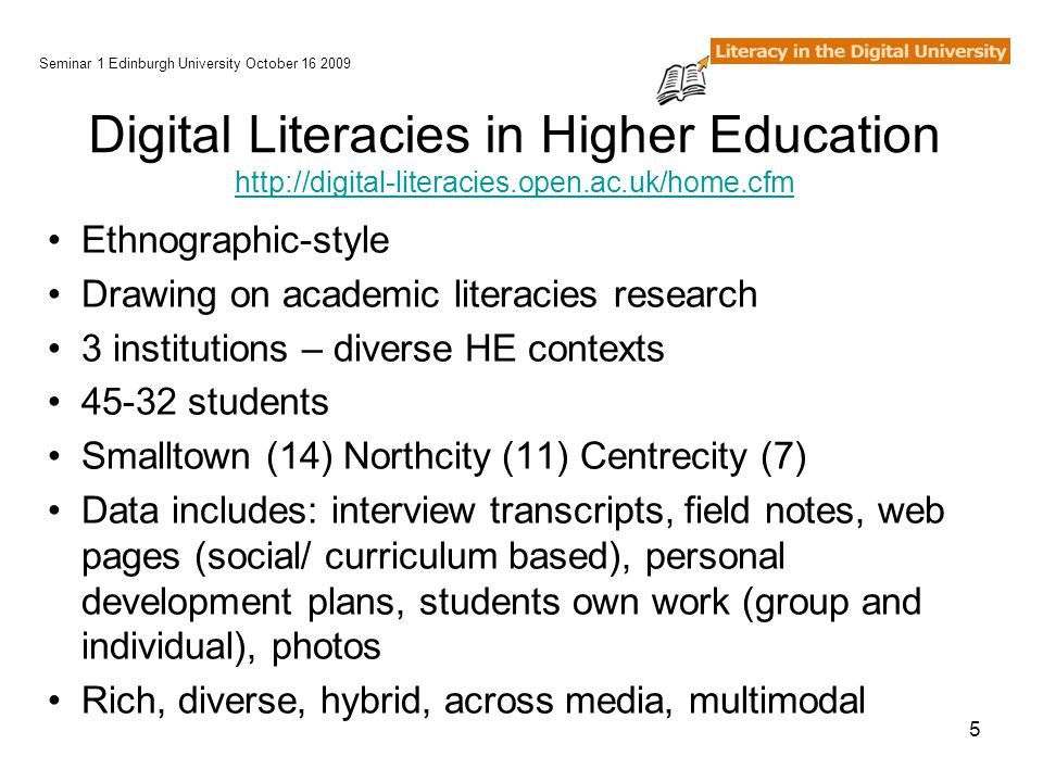 5 Digital Literacies in Higher Education http://digital-literacies.open.ac.uk/home.cfm http://digital-literacies.open.ac.uk/home.cfm Ethnographic-style Drawing on academic literacies research 3 institutions – diverse HE contexts 45-32 students Smalltown (14) Northcity (11) Centrecity (7) Data includes: interview transcripts, field notes, web pages (social/ curriculum based), personal development plans, students own work (group and individual), photos Rich, diverse, hybrid, across media, multimodal Seminar 1 Edinburgh University October 16 2009