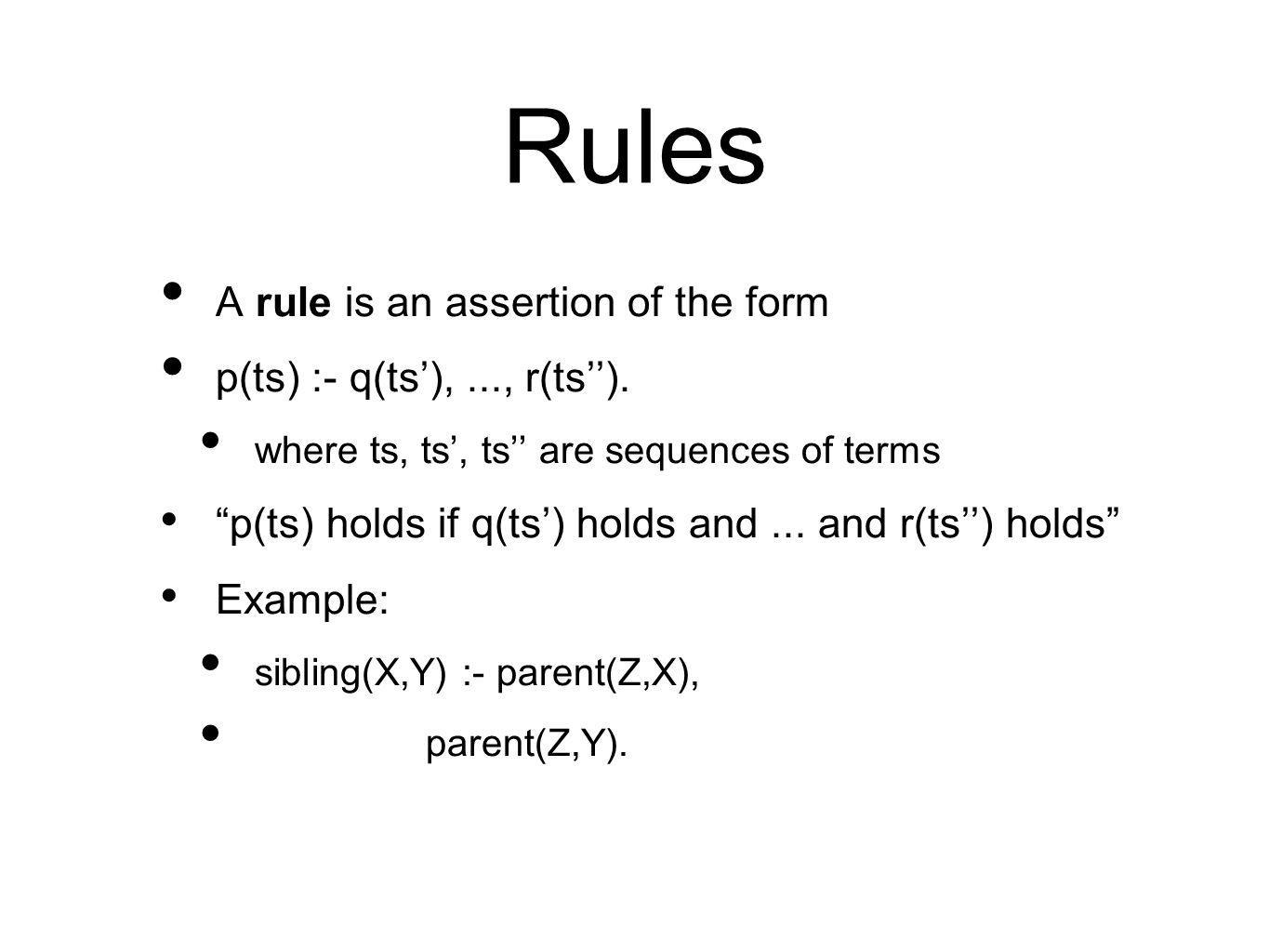 Rules A rule is an assertion of the form p(ts) :- q(ts'),..., r(ts'').