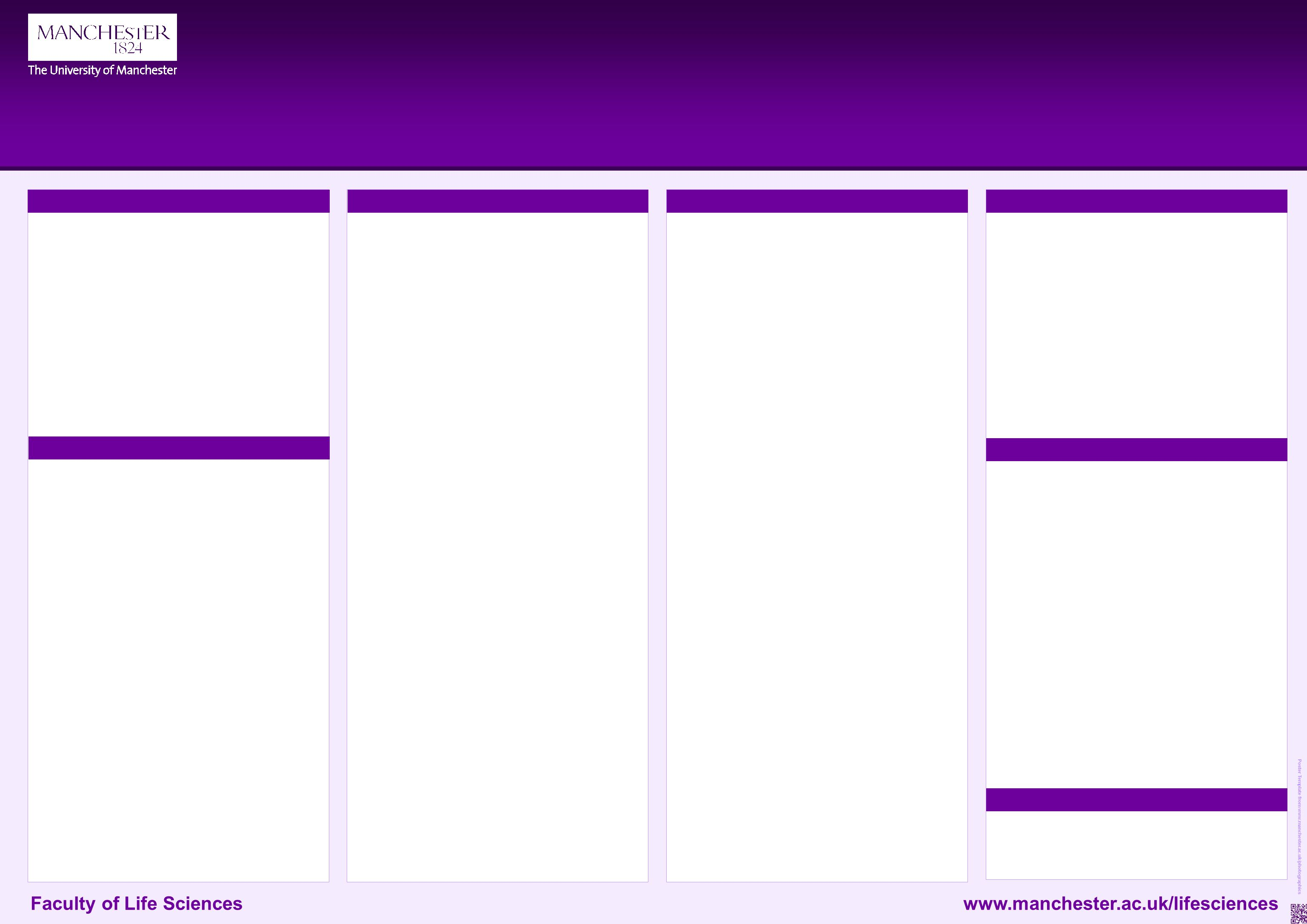 University of Manchester Faculty of Life Sciences PhotoGraphics Unit The blue instruction columns are for your help designing and will not print out on your poster This PowerPoint 2007 and 2010 poster template produces a landscape style poster.