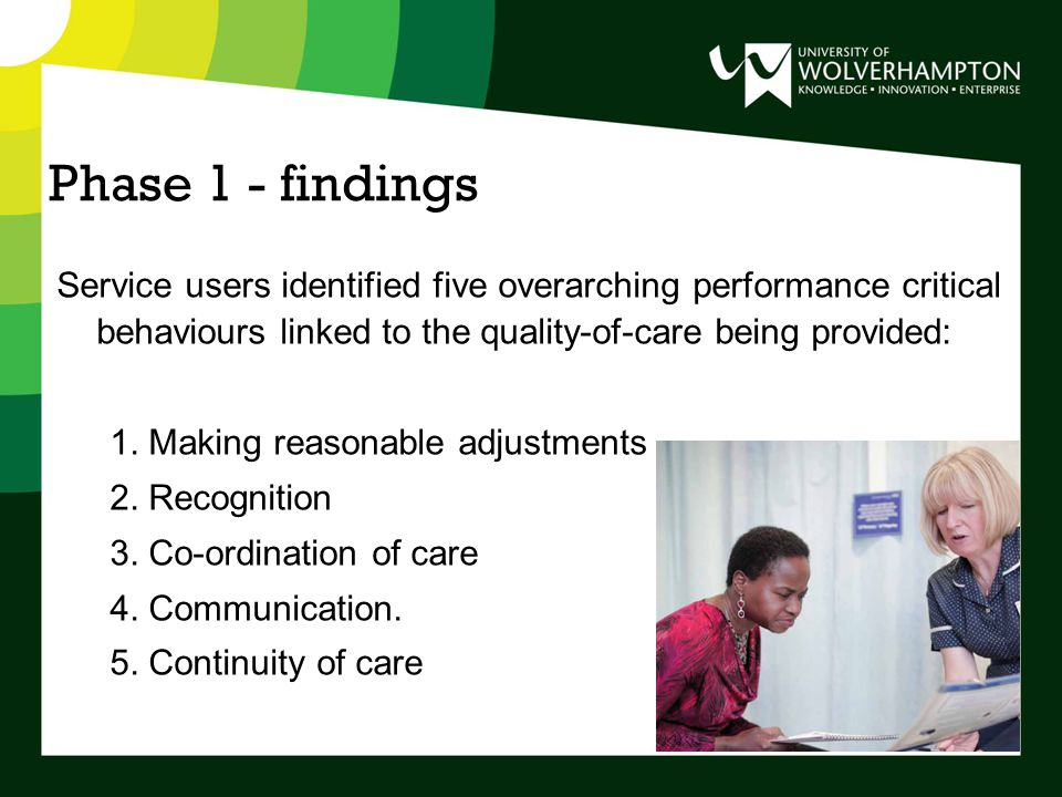 Phase 1 - findings Service users identified five overarching performance critical behaviours linked to the quality-of-care being provided: 1.