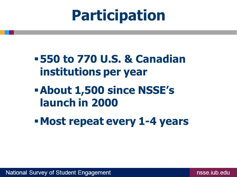 nsse.iub.eduNational Survey of Student Engagement Participation  550 to 770 U.S.