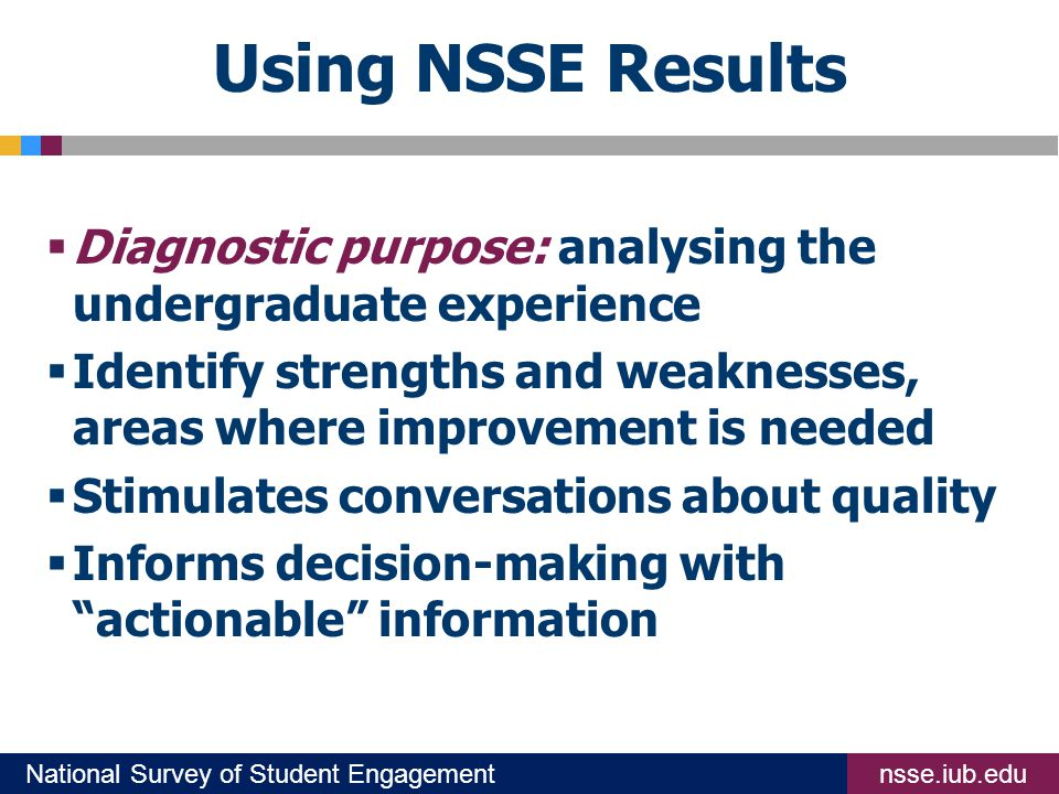 nsse.iub.eduNational Survey of Student Engagement Using NSSE Results  Diagnostic purpose: analysing the undergraduate experience  Identify strengths and weaknesses, areas where improvement is needed  Stimulates conversations about quality  Informs decision-making with actionable information