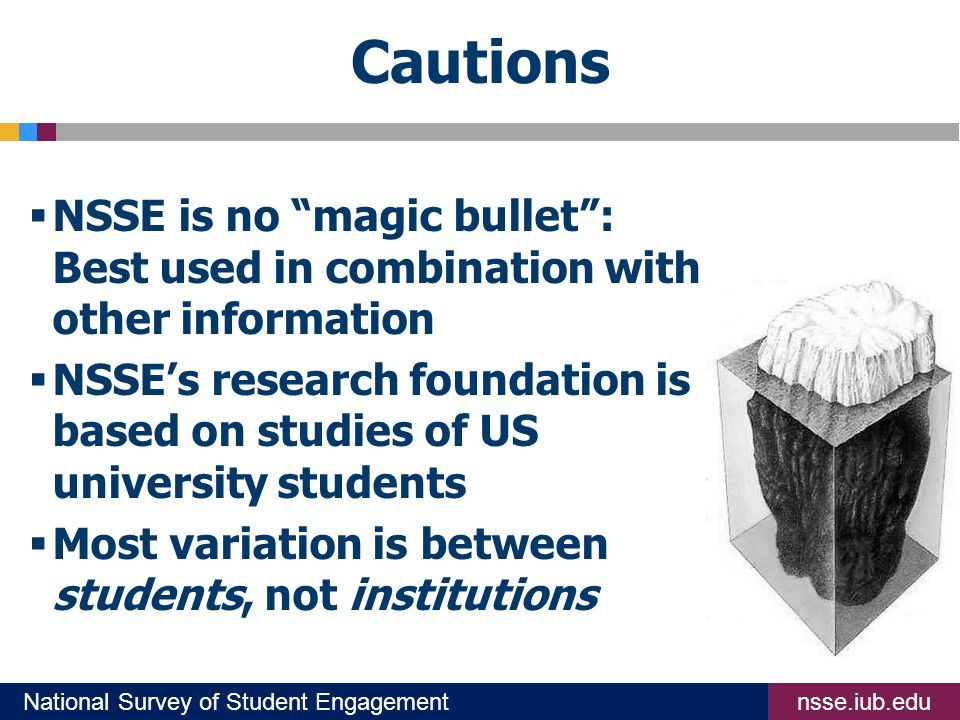 nsse.iub.eduNational Survey of Student Engagement Cautions  NSSE is no magic bullet : Best used in combination with other information  NSSE's research foundation is based on studies of US university students  Most variation is between students, not institutions