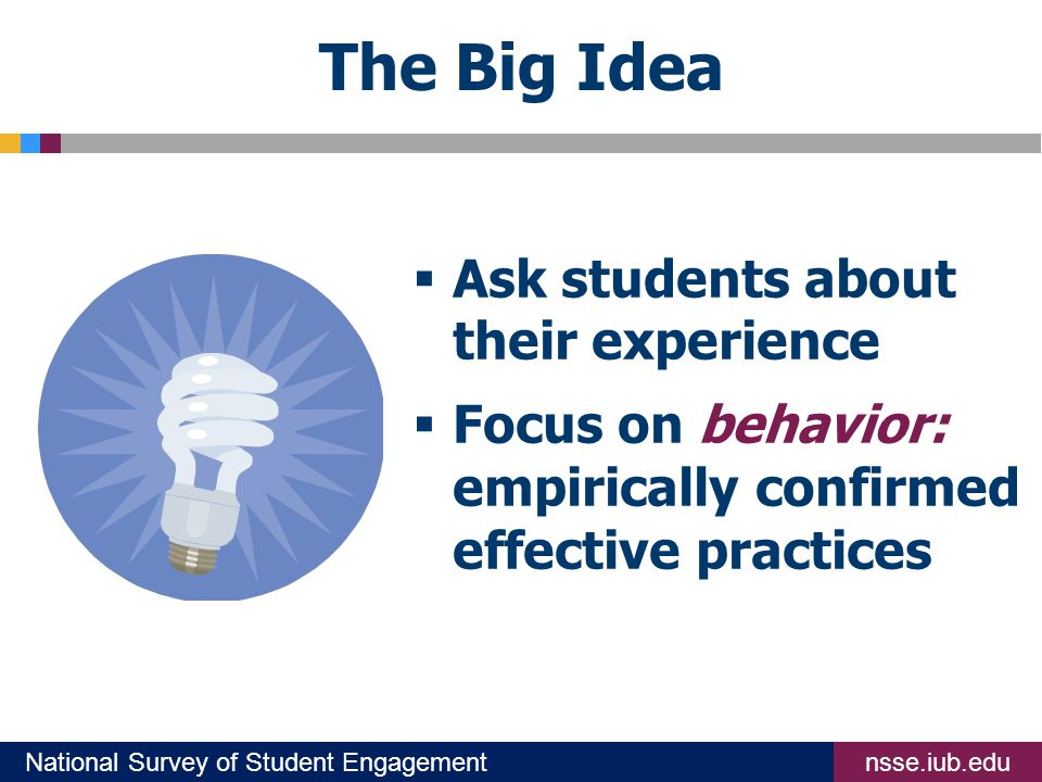 nsse.iub.eduNational Survey of Student Engagement The Big Idea  Ask students about their experience  Focus on behavior: empirically confirmed effective practices