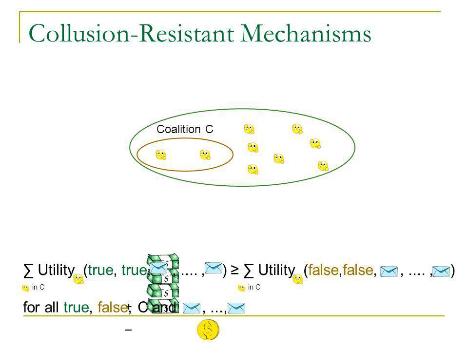 Collusion-Resistant Mechanisms Coalition C + – ∑ Utility (true, true,,...., ) ≥ ∑ Utility (false,false,,...., ) for all true, false, C and,..., in C