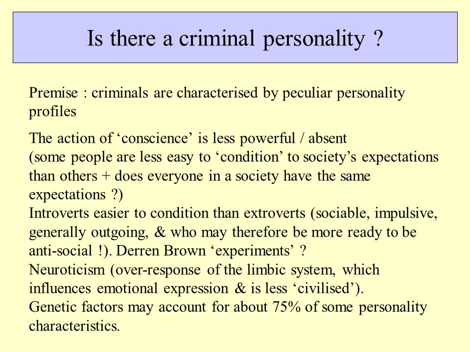 Is there a criminal personality .