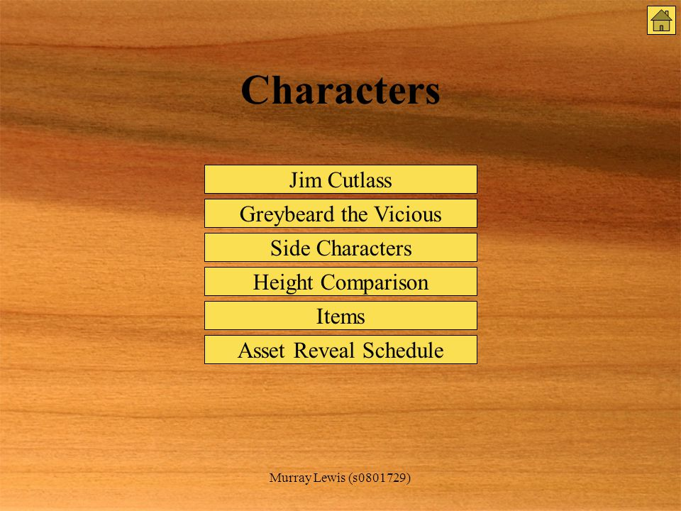 Murray Lewis (s0801729) Characters Jim Cutlass Greybeard the Vicious Side Characters Items Height Comparison Asset Reveal Schedule