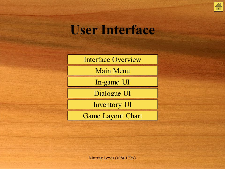 Murray Lewis (s0801729) User Interface Interface Overview Main Menu In-game UI Inventory UI Dialogue UI Game Layout Chart