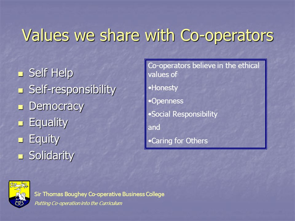 Values we share with Co-operators Self Help Self Help Self-responsibility Self-responsibility Democracy Democracy Equality Equality Equity Equity Solidarity Solidarity Co-operators believe in the ethical values of Honesty Openness Social Responsibility and Caring for Others Sir Thomas Boughey Co-operative Business College Putting Co-operation into the Curriculum