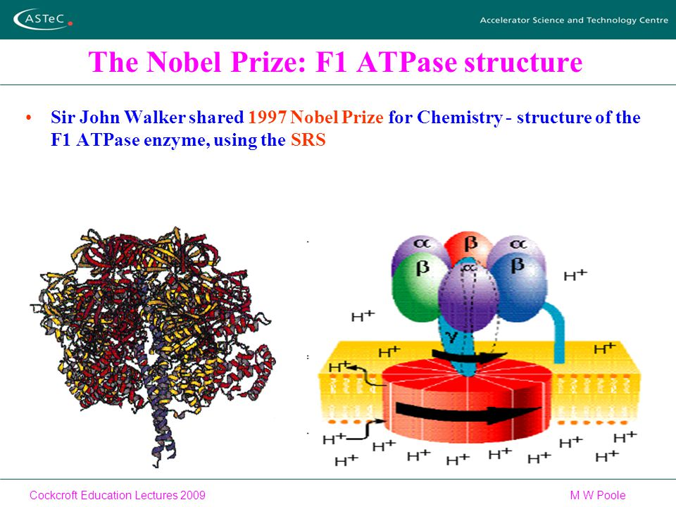 Cockcroft Education Lectures 2009M W Poole The Nobel Prize: F1 ATPase structure Sir John Walker shared 1997 Nobel Prize for Chemistry - structure of the F1 ATPase enzyme, using the SRS
