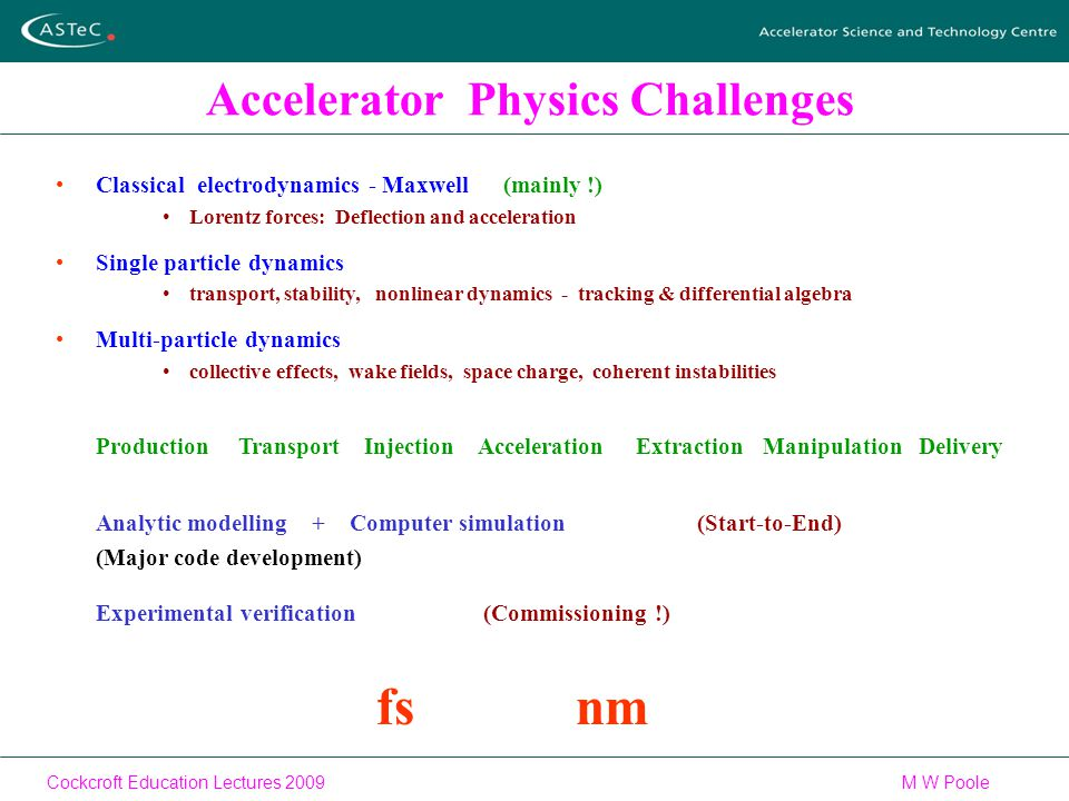 Cockcroft Education Lectures 2009M W Poole Accelerator Physics Challenges Classical electrodynamics - Maxwell (mainly !) Lorentz forces: Deflection and acceleration Single particle dynamics transport, stability, nonlinear dynamics - tracking & differential algebra Multi-particle dynamics collective effects, wake fields, space charge, coherent instabilities Production Transport Injection Acceleration Extraction Manipulation Delivery Analytic modelling + Computer simulation (Start-to-End) (Major code development) Experimental verification(Commissioning !) fs nm