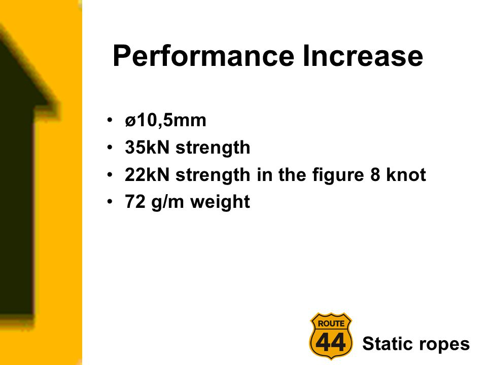 Performance Increase ø10,5mm 35kN strength 22kN strength in the figure 8 knot 72 g/m weight Static ropes