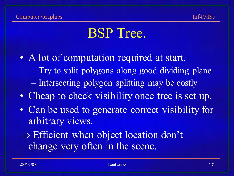Computer Graphics Inf4/MSc 28/10/08Lecture 917 BSP Tree.