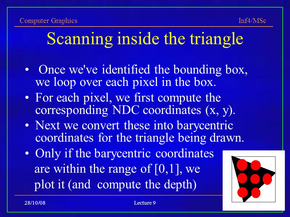 Computer Graphics Inf4/MSc 28/10/08Lecture 926 Scanning inside the triangle Once we ve identified the bounding box, we loop over each pixel in the box.