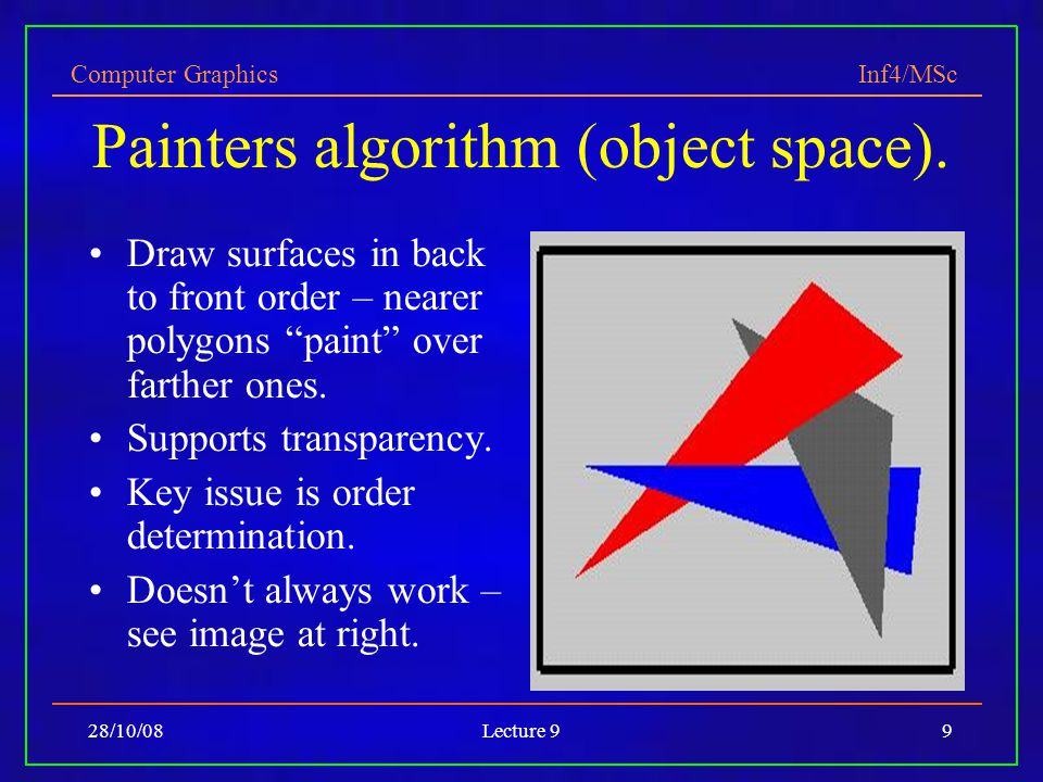 Computer Graphics Inf4/MSc 28/10/08Lecture 99 Painters algorithm (object space).
