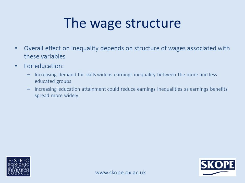www.skope.ox.ac.uk The wage structure Overall effect on inequality depends on structure of wages associated with these variables For education: – Increasing demand for skills widens earnings inequality between the more and less educated groups – Increasing education attainment could reduce earnings inequalities as earnings benefits spread more widely