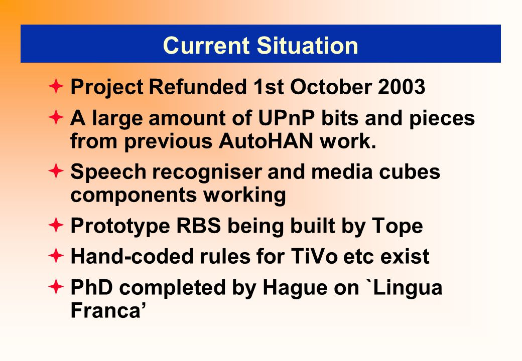 Current Situation  Project Refunded 1st October 2003  A large amount of UPnP bits and pieces from previous AutoHAN work.
