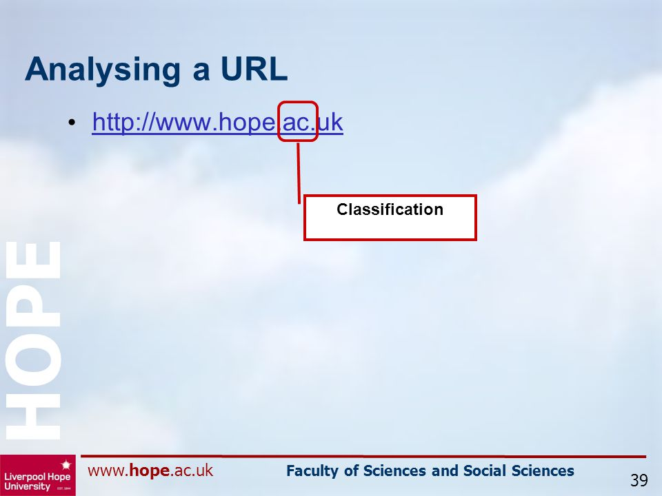 www.hope.ac.uk Faculty of Sciences and Social Sciences HOPE Analysing a URL http://www.hope.ac.uk 39 Classification
