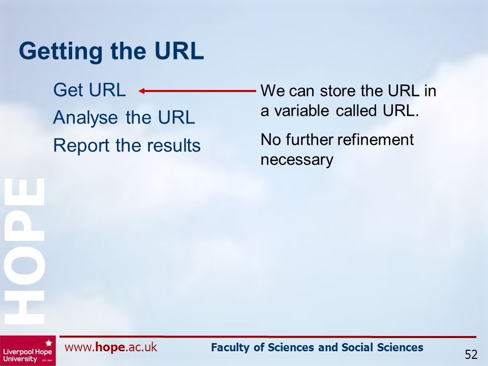 www.hope.ac.uk Faculty of Sciences and Social Sciences HOPE Getting the URL Get URL Analyse the URL Report the results 52 We can store the URL in a variable called URL.