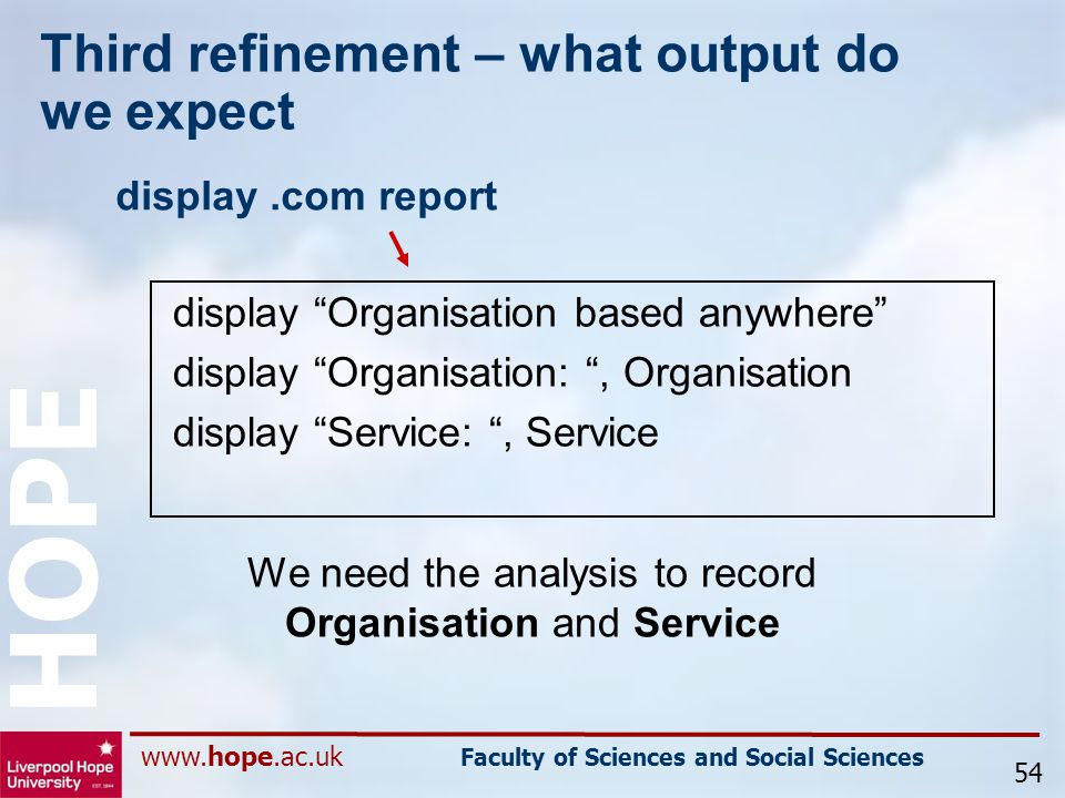 www.hope.ac.uk Faculty of Sciences and Social Sciences HOPE Third refinement – what output do we expect display.com report 54 display Organisation based anywhere display Organisation: , Organisation display Service: , Service We need the analysis to record Organisation and Service