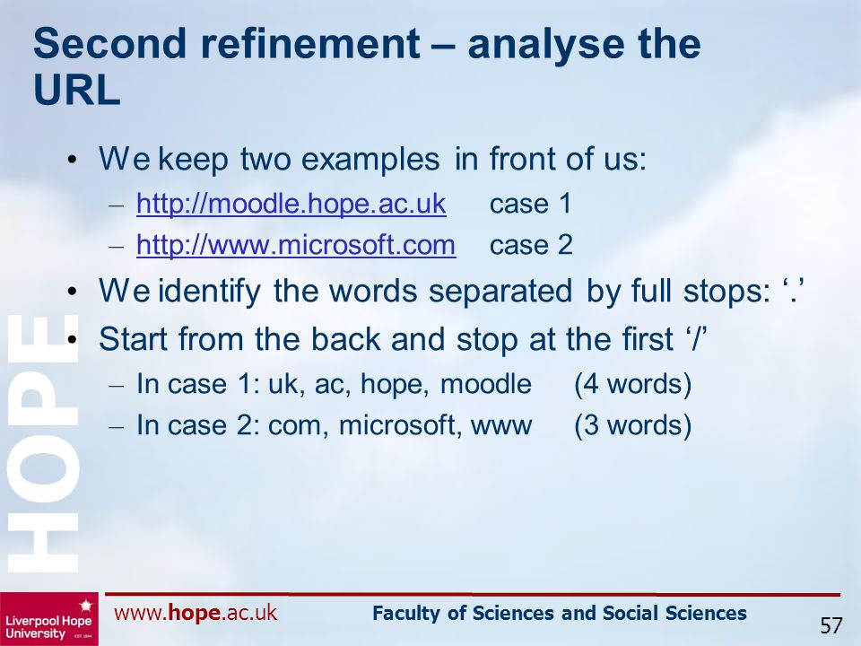 www.hope.ac.uk Faculty of Sciences and Social Sciences HOPE Second refinement – analyse the URL We keep two examples in front of us: – http://moodle.hope.ac.ukcase 1 http://moodle.hope.ac.uk – http://www.microsoft.comcase 2 http://www.microsoft.com We identify the words separated by full stops: '.' Start from the back and stop at the first '/' – In case 1: uk, ac, hope, moodle(4 words) – In case 2: com, microsoft, www(3 words) 57