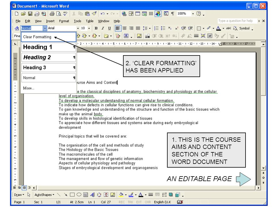 1. THIS IS THE COURSE AIMS AND CONTENT SECTION OF THE WORD DOCUMENT 2.