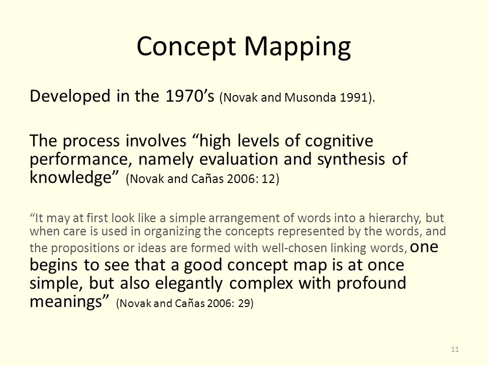 Concept Mapping Developed in the 1970's (Novak and Musonda 1991).