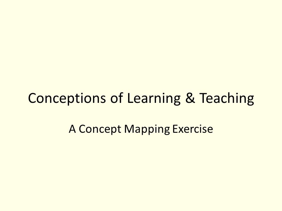 Conceptions of Learning & Teaching A Concept Mapping Exercise