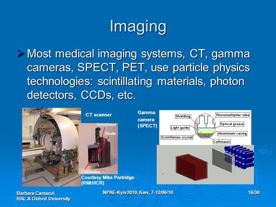 Barbara Camanzi RAL & Oxford University NPAE-Kyiv2010, Kiev, 7-12/06/1016/30 Imaging  Most medical imaging systems, CT, gamma cameras, SPECT, PET, use particle physics technologies: scintillating materials, photon detectors, CCDs, etc.