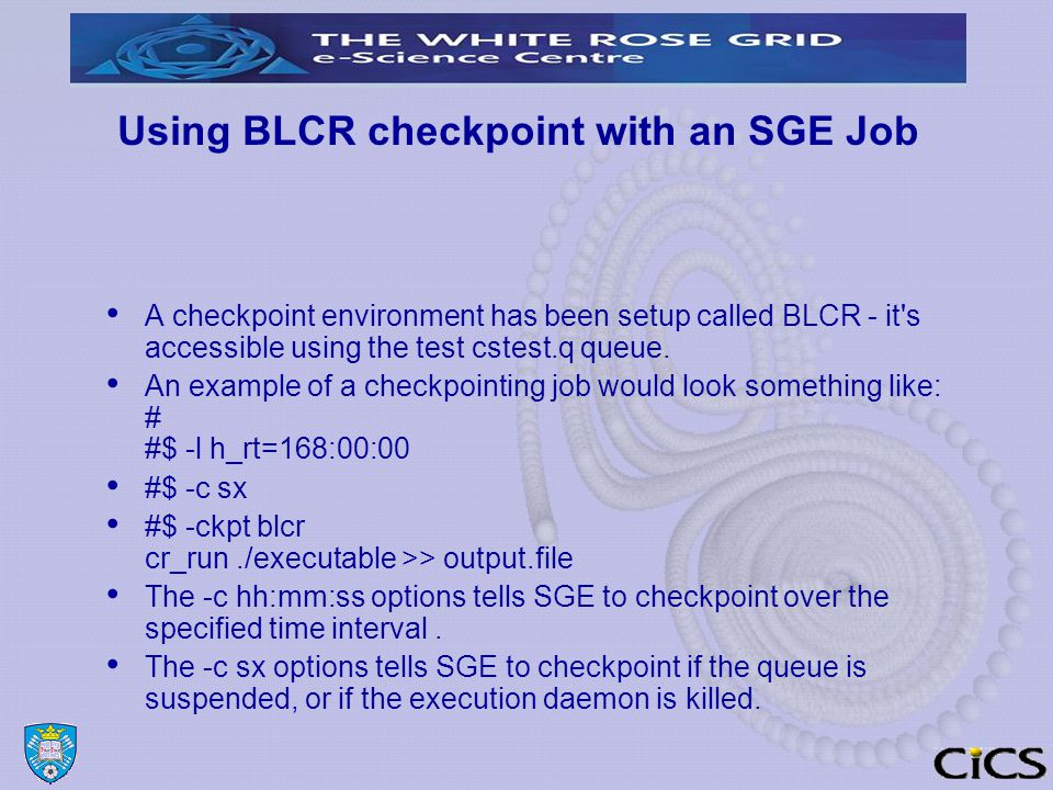 Using BLCR checkpoint with an SGE Job A checkpoint environment has been setup called BLCR - it s accessible using the test cstest.q queue.