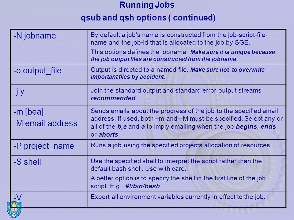 Running Jobs qsub and qsh options ( continued) -N jobname By default a job's name is constructed from the job-script-file- name and the job-id that is allocated to the job by SGE.