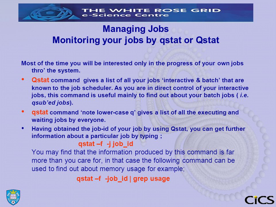 Managing Jobs Monitoring your jobs by qstat or Qstat Most of the time you will be interested only in the progress of your own jobs thro' the system.