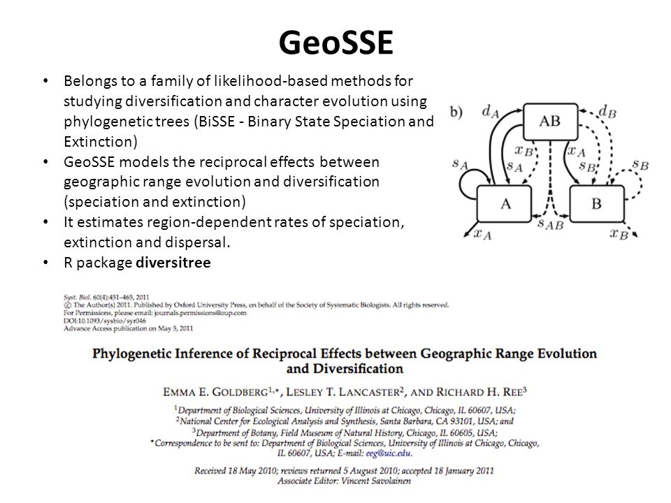 GeoSSE Belongs to a family of likelihood-based methods for studying diversification and character evolution using phylogenetic trees (BiSSE - Binary State Speciation and Extinction) GeoSSE models the reciprocal effects between geographic range evolution and diversification (speciation and extinction) It estimates region-dependent rates of speciation, extinction and dispersal.