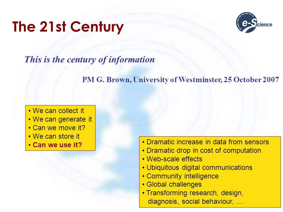 The 21st Century This is the century of information PM G.