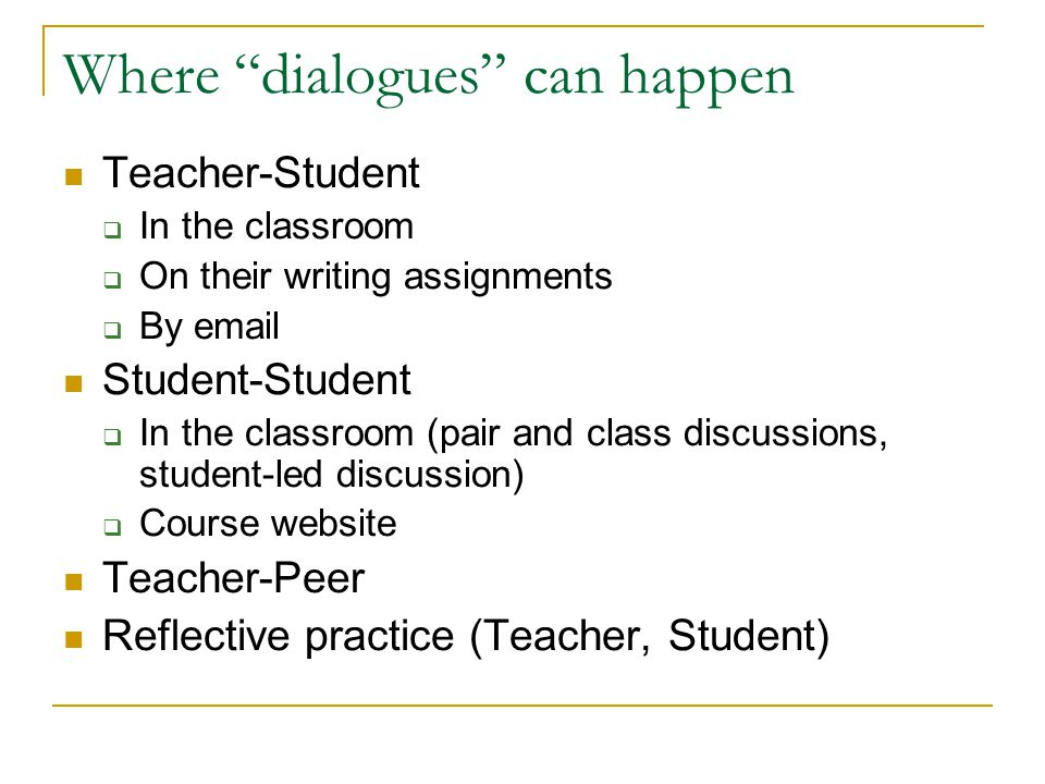 Where dialogues can happen Teacher-Student  In the classroom  On their writing assignments  By email Student-Student  In the classroom (pair and class discussions, student-led discussion)  Course website Teacher-Peer Reflective practice (Teacher, Student)