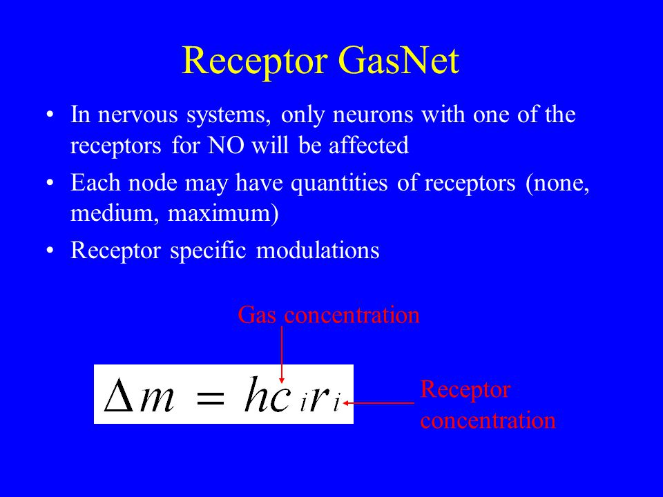 Receptor GasNet In nervous systems, only neurons with one of the receptors for NO will be affected Each node may have quantities of receptors (none, medium, maximum) Receptor specific modulations Gas concentration Receptor concentration