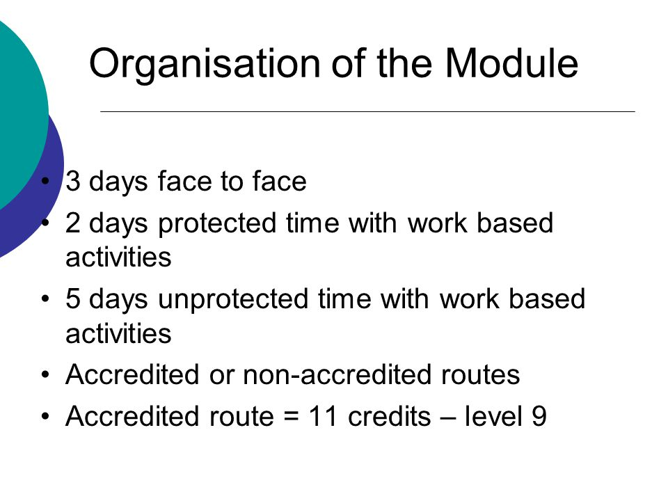 Organisation of the Module 3 days face to face 2 days protected time with work based activities 5 days unprotected time with work based activities Accredited or non-accredited routes Accredited route = 11 credits – level 9