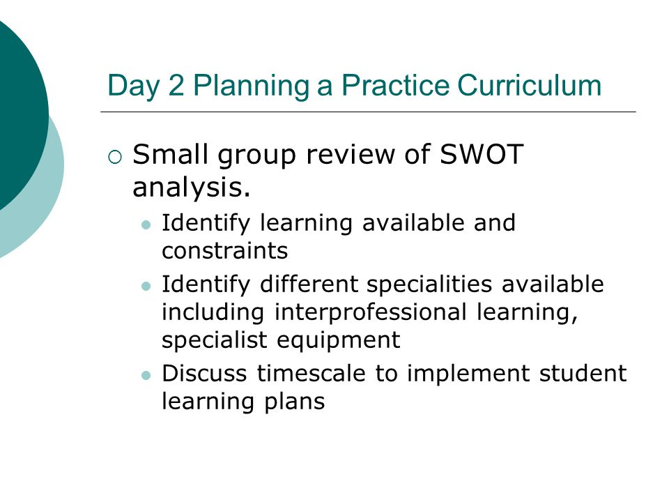 Day 2 Planning a Practice Curriculum  Small group review of SWOT analysis.