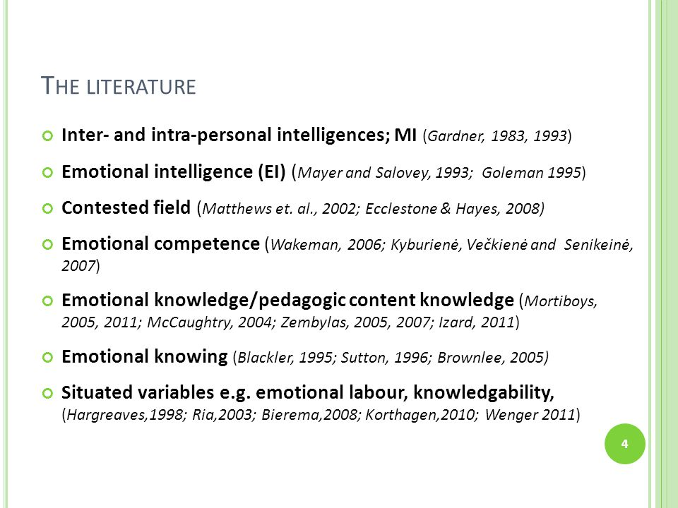 T HE LITERATURE Inter- and intra-personal intelligences; MI (Gardner, 1983, 1993) Emotional intelligence (EI) ( Mayer and Salovey, 1993; Goleman 1995) Contested field ( Matthews et.