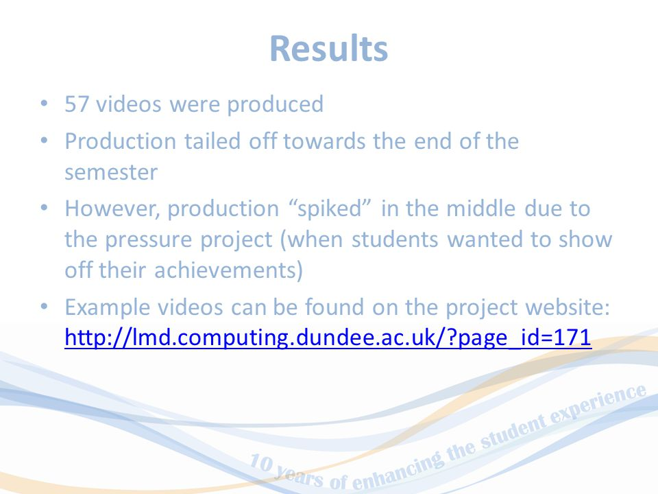 Results 57 videos were produced Production tailed off towards the end of the semester However, production spiked in the middle due to the pressure project (when students wanted to show off their achievements) Example videos can be found on the project website: http://lmd.computing.dundee.ac.uk/ page_id=171 http://lmd.computing.dundee.ac.uk/ page_id=171