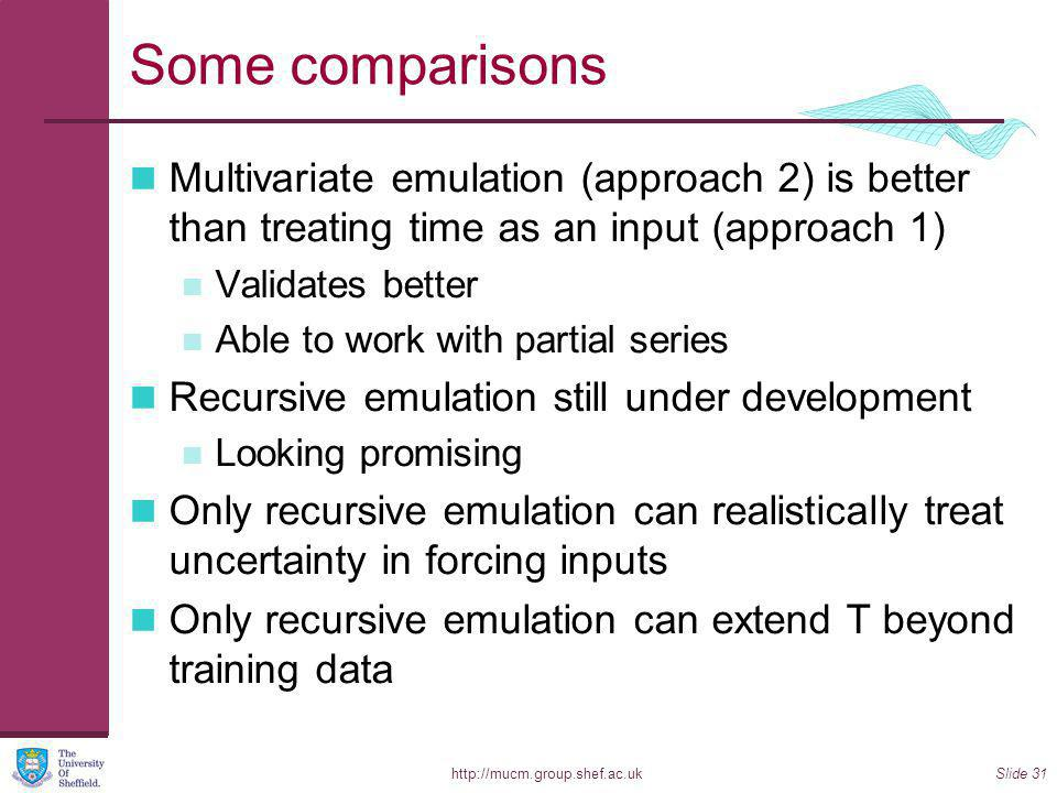 http://mucm.group.shef.ac.ukSlide 31 Some comparisons Multivariate emulation (approach 2) is better than treating time as an input (approach 1) Validates better Able to work with partial series Recursive emulation still under development Looking promising Only recursive emulation can realistically treat uncertainty in forcing inputs Only recursive emulation can extend T beyond training data