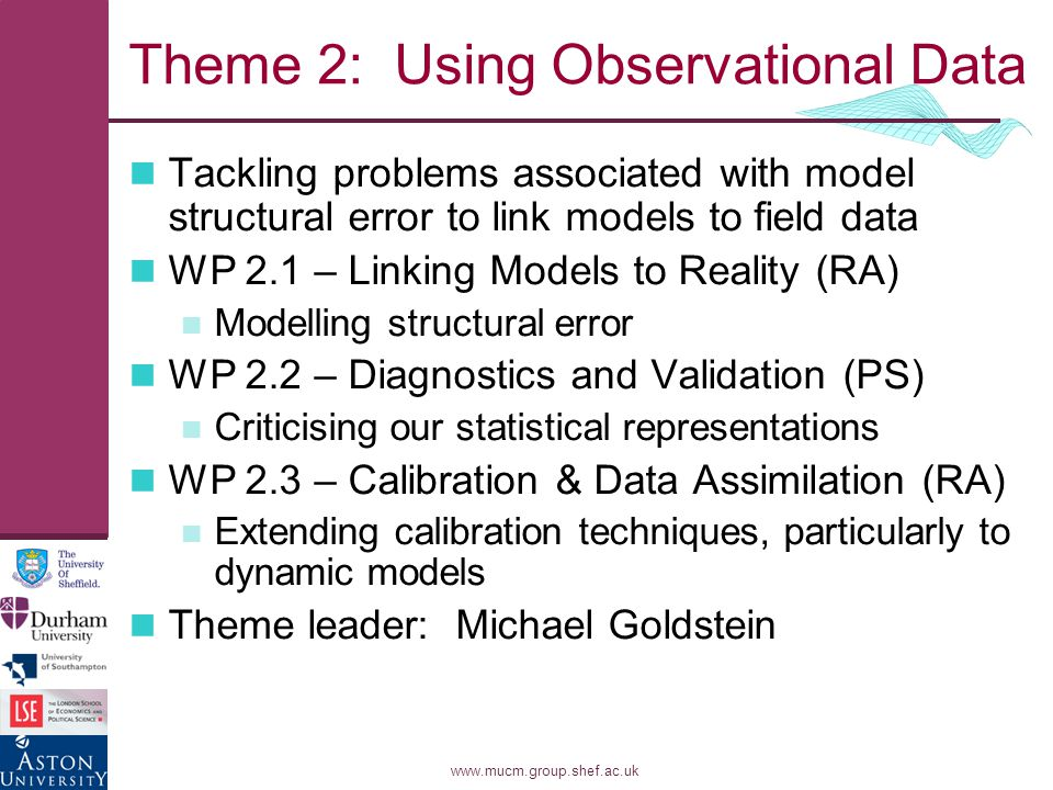 www.mucm.group.shef.ac.uk Theme 2: Using Observational Data Tackling problems associated with model structural error to link models to field data WP 2.1 – Linking Models to Reality (RA) Modelling structural error WP 2.2 – Diagnostics and Validation (PS) Criticising our statistical representations WP 2.3 – Calibration & Data Assimilation (RA) Extending calibration techniques, particularly to dynamic models Theme leader: Michael Goldstein