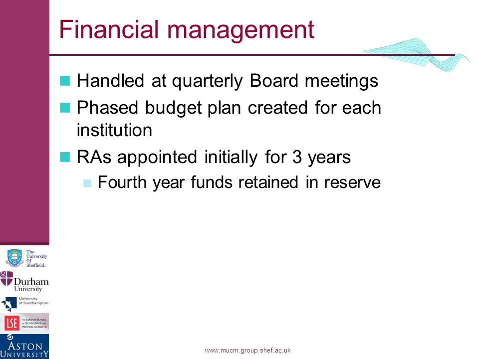 www.mucm.group.shef.ac.uk Financial management Handled at quarterly Board meetings Phased budget plan created for each institution RAs appointed initially for 3 years Fourth year funds retained in reserve